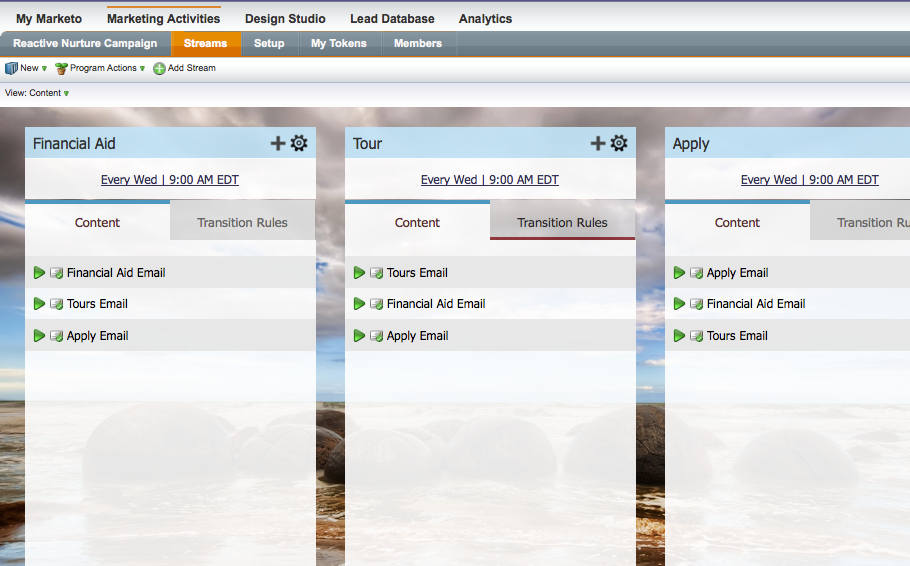 A screenshot showing content laid out in tracks